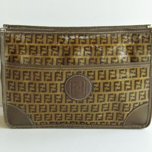 FENDI Vintage Zucchino Print Canvas Medium Clutch
